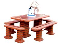 Tables in brick BBQ, garden tables and picnic area, craft Portugal, manufactures, manufacturers