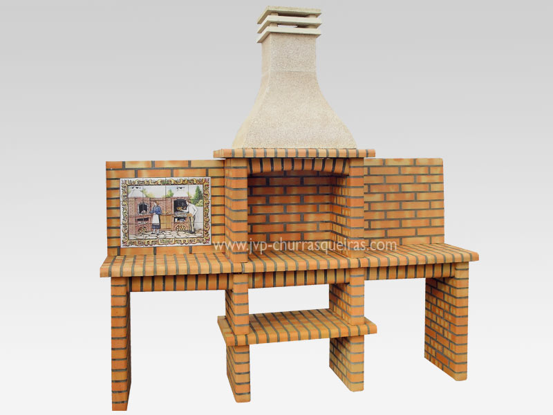 BBQ Grill 217-AT, Manufacture Barbecue Grill, BBQ in refractory bricks, Brick barbecues Grill, Outdoor Barbecue Grill, Brick barbecue grill, Garden barbecue grills, charcoal grill, Barbecue Grill, Churrasqueiras, bbq with bricks